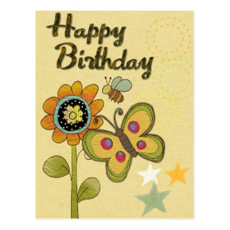 Happy Birthday Flower Butterfly Bee Nature Postcard