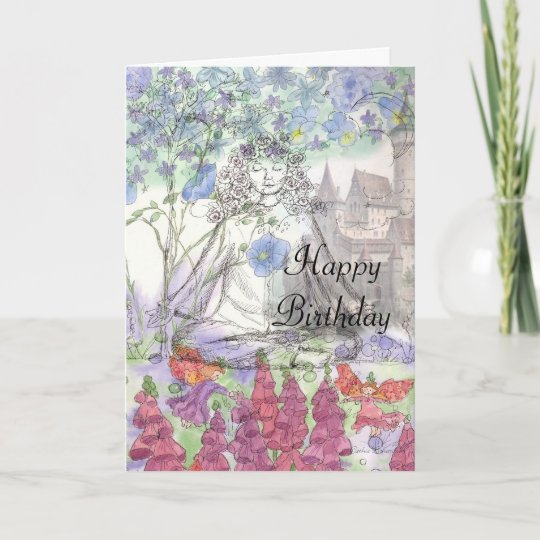 Happy Birthday Flower Card Zen Meditation Zazzle