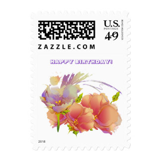 Happy Birthday. Flower Painting Postage Stamps