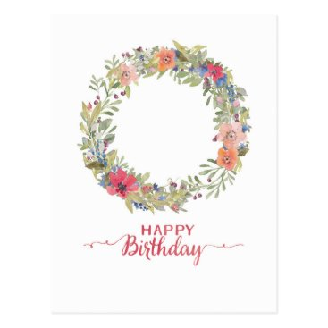 frolleinleni Happy Birthday flower ring water color Postcard