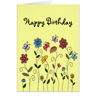 Happy Birthday flowers & butterflies card