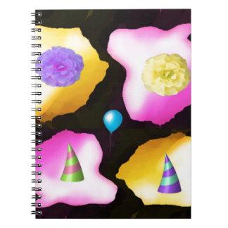 Happy birthday flowers design spiral notebook