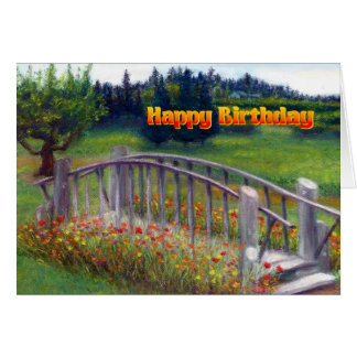 Happy Birthday Flowers & Footbridge - Ladybug Lane Greeting Card