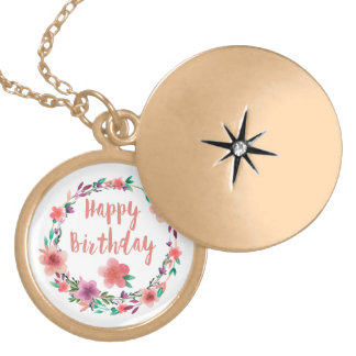 Happy Birthday Flowers Locket Necklace