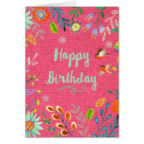 Happy Birthday Flowers | Pink | Greeting Card
