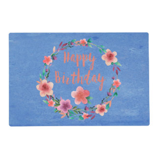 Happy Birthday Flowers Placemat