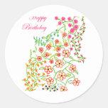 Happy Birthday Flowers Round Sticker