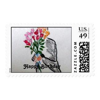 Happy Birthday Flowers Stamp