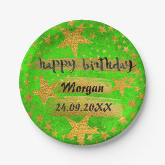 Happy Birthday Fluorescent Green Stars Grungy Gold Paper Plate