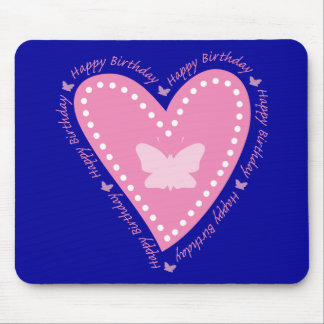 Happy Birthday Fluttering Heart Mouse Pad