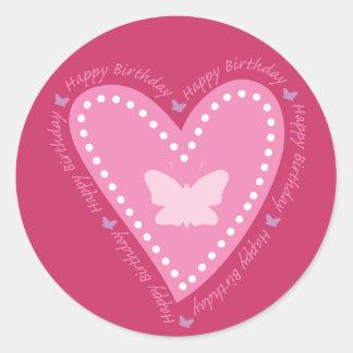 Happy Birthday Fluttering Heart Stickers