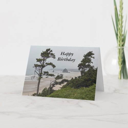 Happy Birthday, Foggy Morning, Cannon Beach, OR Card