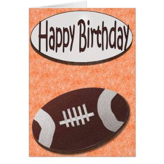 Happy Birthday Football Card in Orange