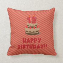 Happy Birthday!! (for 13 years old) Throw Pillow