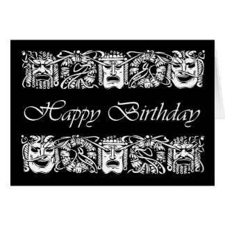 Happy Birthday for Actor, Theatre Peformance Masks Card