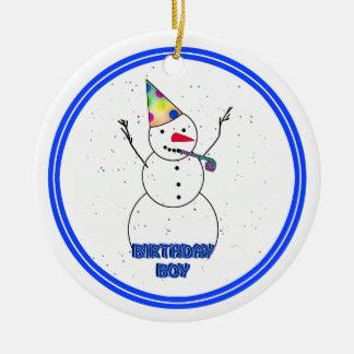 Happy Birthday for Boy (Blue Trim) Christmas Ornament