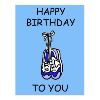 Happy Birthday for male runner, blue trainers. Postcard