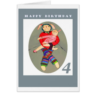 happy birthday , four years old greeting card