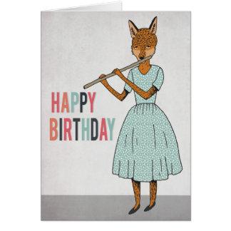 Happy Birthday - Fox Plays Flute Illustrated Card