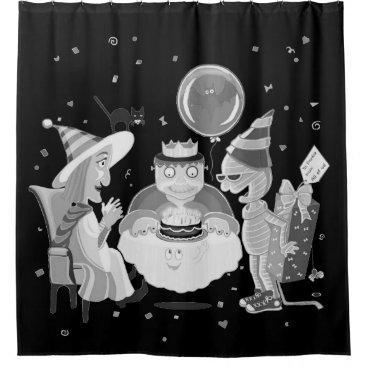 Halloween Themed Happy Birthday Frankie (black/white)shower curtain