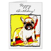 Happy Birthday French Bulldog Art greeting card