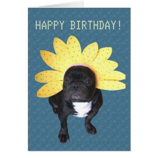 Happy Birthday French Bulldog Flower Card