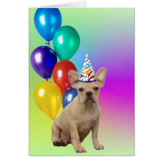 Happy Birthday French Bulldog greeting card