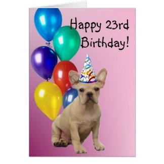 Happy Birthday French Bulldog greeting card