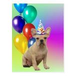 Happy Birthday French Bulldog postcard