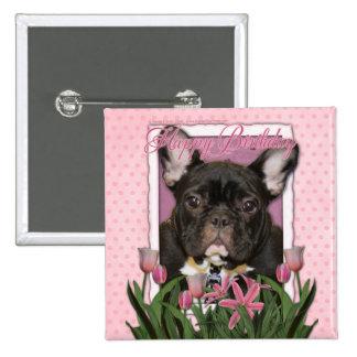 Happy Birthday - French Bulldog - Teal Button