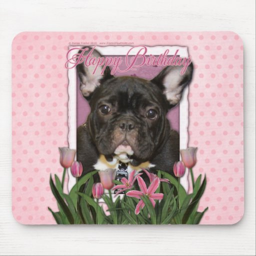 Happy Birthday - French Bulldog - Teal Mouse Pad