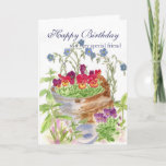 """Happy Birthday Friend Flower Bucket Bouquet Card<br><div class=""""desc"""">An old rustic bucket filled with blooming flowers painted in watercolor.  Find this design on birthday greeting cards too!  Fun cheerful spring design for gifts.</div>"""
