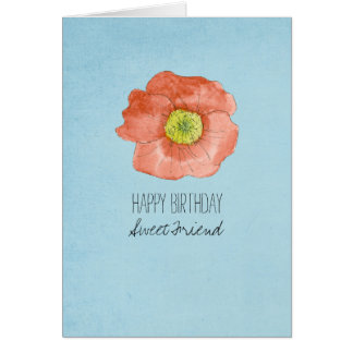 Happy Birthday Friend Red Watercolor Poppy Card