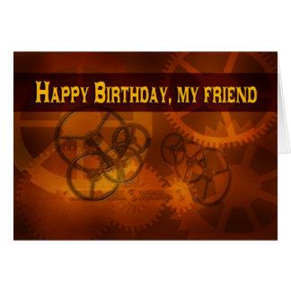 Happy Birthday Friend steampunk clock gears Greeting Card