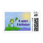 Happy Birthday Frog Postage Stamps