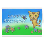 Happy birthday from a happy dancing cat stationery note card