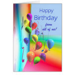 Happy Birthday from all - Balloon Wall Greeting Card