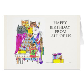 Happy Birthday From All of Us, Cat Characters Card