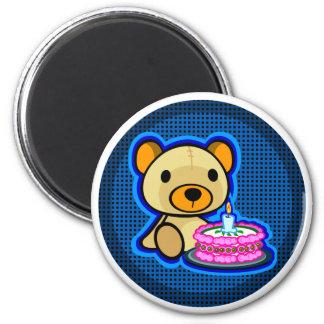 Happy birthday from blue teddy bear on magnet