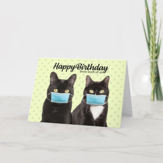 Happy Birthday From Both Cute Cat Couple in Masks Card