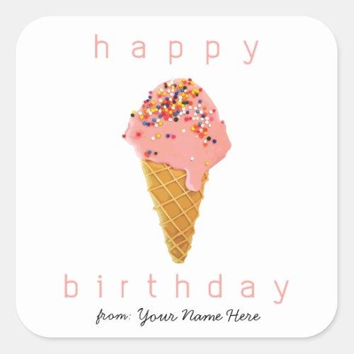 Happy Birthday from Custom Stickers Ice Cream Cone