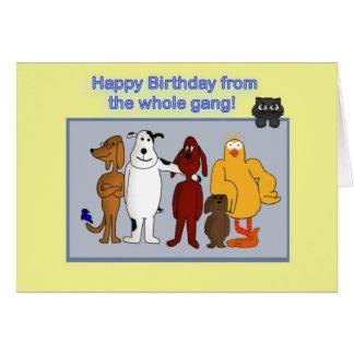 Happy Birthday from Group, Cartoon Animals Greeting Card