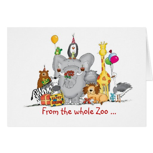 Cute Zoo Animals Greeting Card