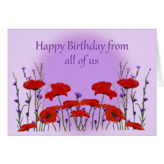 Happy Birthday from Group, Field of Poppies Card