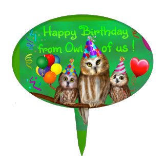 Happy Birthday from Owl of us! Cake Topper