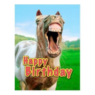 Beach Themed Happy Birthday from the happy horse Postcard