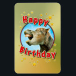 """Happy Birthday from the laughing horse Magnet<br><div class=""""desc"""">Digital image editing from photo</div>"""