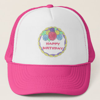 Happy Birthday Frosted Cake w/ Pastel Roses Hat