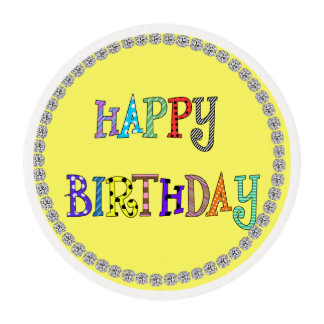HAPPY BIRTHDAY  Frosting Cupcake Topper Bling LOOK Edible Frosting Rounds