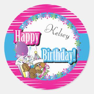 Happy Birthday Fun Cartoon Squirrel Classic Round Sticker